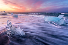 Iceland Diamond Beach Sunrise by Scott Donschikowski.jpg (Scott Donschikowski) Tags: diamondbeach iceland summer beach wet cold pink water purple jökulsárlón seascape volcanicsand blue iceberg ice