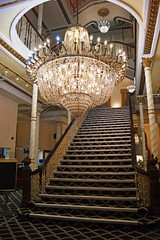 Watch out Trotters about! (WISEBUYS21) Tags: chandelier hotel manchester stairs stairway flight only fools horses trotter trotters brothers grand impressive light illuminate wisebuys21 candle bulbs banister rail curves circular dazzle