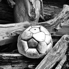 Ball med lite luft -|- Ball punctured (erlingsi) Tags: square sq volda rekved wood ballen ball erlingsi iphone erlingsivertsen bnw punctured punktert