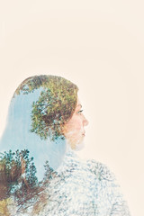 (Rebecca812) Tags: doubleexposure girl portrait beauty nature trees evergreen pine blue green profile sideview canon people rebeccanelson rebecca812 senior fineart
