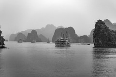 Ha Long Bay in Black and White (lgflickr1) Tags: asia vacation vietnam southeastasia halongbay quangninhprovince hazy overcast outdoor outside outdoors ocean oceanfront boats ships blackandwhite grey nopeople nikkor nikon northvietnam daytime day d750 peaceful rocks travel transportation water waterfront bw monochrome monochromatic