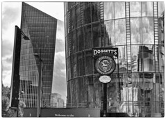 Doggett's (alicejack2002) Tags: london bw monochrome leica doggetts building city glass window reflection
