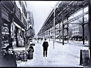 Ninth Avenue El, Manhattan, looking south from north of W. 100th Street, February 1891.