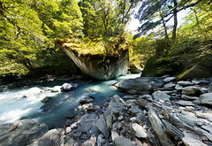 20190207-33-River bend pano (Roger T Wong) Tags: 2019 nz newzealand ptgui rogertwong sel24105g sony24105 sonya7iii sonyalpha7iii sonyfe24105mmf4goss sonyilce7m3 southisland westmatukitukivalley bend blue bushwalk erosion glacial hike landscape outdoors pano panorama river tramp trek walk
