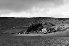 Widdop reservoir - view of Widdop Lodge (Richard Needham) Tags: widdop reservoir blackandwhite sky landscape yorkshire