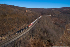 NS 35A at Gallitzin, Pennsylvania (Brad Morocco Photo) Tags: 39q 6741 7211 bluesky drone emd elephantsytle february freight ns norfolksouthern pa pitl pennsylvania pittsburghline pittsburghdivision positionlightsignal sd60i sd80mac signal signalbridge sunny westbound widecab