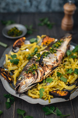 Grilled bass with gremolata (Arnø N°XX) Tags: cuisine cook dill bar loup fenouille orange garlic parsley persil food mediterranean cuccina