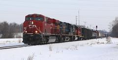 CP 9351, CSX 69, CN 5431, 7027, Stroebe, Fox Crossing, 9 Mar 19 (kkaf) Tags: a446 stroebe foxcrossing gp9rm sd60 ac4400cw es44ac