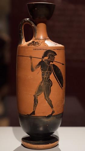 Athenian Black Figure lekythos with pyrrhic dancers, 1