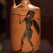 Athenian Black Figure lekythos with pyrrhic dancers, 1