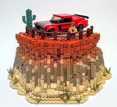 The Open Road (Jonathan_S.) Tags: lego legomoc legomustang legomustangmoc legocanyon legocanyonmoc legocanyonscenery legocanyonscene legomustangontopofcanyon legodesertmoc jsninjnerd