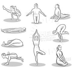 Set of twelve yoga poses (Hebstreits) Tags: asana beautiful beauty black body cartoon class concentration design energy exercise female fit fitness flat flexibility form girl gym health healthy hinduism icon illustration isolated lifestyle meditation minimalist people person pose poses posture practice properly relaxation salutation set shape silhouette sport stretch style sun symbol twelve vector vitality worship yoga