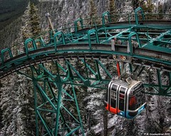 The Banff Gondola arriving at the Summit of Sulphur Mountain (PhotosToArtByMike) Tags: banffgondola sulphurmountain banffnationalpark observationdeck banff canadianrockies gondola cableway albertacanada cablecar summit scenic mountain mountains bowvalley bowriver panoramicview