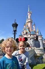 The Kids And Sleeping Beauty Castle (Joe Shlabotnik) Tags: disneylandparis eurodisney paris april2018 france disney everett sleepingbeautycastle 2018 castle disneyland violet afsdxvrzoomnikkor18105mmf3556ged
