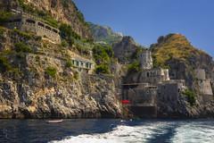 The Cliffs of Amalfi (RobertCross1 (off and on)) Tags: 1250mmf3563mzuiko amalfi amalficoast em5 europe italia italy mediterranean omd olympus tyrrheniansea bluesky boat castle cliffs hills landscape medieval sea seascape trees water campania