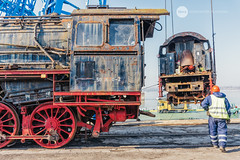 Reunion (BackOnTrack Studios) Tags: dr 50 3670 36702 dampflok dampflokomotive steam locomotive loco unloading floating crane titan drb railways train lok bulgaria ruse port danube