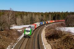 223 103 mit DGS 59873 (Hof-Wiesau) am 16.02.2019 in Oberteich (Nils Floß) Tags: zug bahn bayern winter container sonne diesel setg