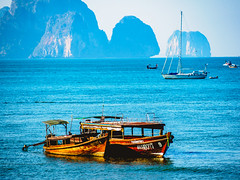 Ao Nang 3 (deepaqua) Tags: ocean andamansea krabiprovince island aonang indianocean cliff boat sailboat thailand
