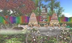 Sweet Spring Party (Rose Sternberg) Tags: second life deco decor home garden aphrodite shop donut buffet rare platter best day ever tower sways sway orla picket fence rainbow simply shelby spring maple vith wildflowers birthday cake sense event rezzday