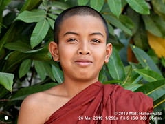 2016-12b World's Future 2019 (01a) (Matt Hahnewald) Tags: matthahnewaldphotography facingtheworld people head face eyes mouth lips expression smile story shavedhead shorn shorthair robe maroon lifestyle religion upbringing childhood traditional cultural buddhist buddhism buddhistmonk maroonrobe monastery monk boymonk loikow kayahstate myanmar burma asia asian myanmarese male boy portraiture nikond610 nikkorafs85mmf18g 85mm resized 1200x900pixels horizontal street portrait headshot fullfaceview outdoor colour posingcamera smilingmouthclosed dusk clarity person conceptual 4x3ratio closeup consensual lookingcamera