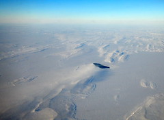 Arctic condensation plume (subarcticmike) Tags: subarcticmike travel arctic phenomena aerial hudsonbay nunavut geomorphology blue white frozen tidalflat drumlinfield drumlins glaciation openwater winter cold polar climate eskers canada