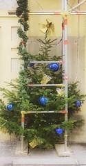 Happy Holidays Schöne Feiertage - Merry Christmas Fröhliche Weihnachten (hedbavny) Tags: at holiday feiertag scaffold gerüst baustelle bau christbaum weihnachtsbaum geschmückt kugel glaskugle blau blue green grün red rot schmuck weihnachtsschmuck gelb gold golden gülden packerl geschenk present gift karton mascherl weihnachtsgeschenk eingepackt verpackt envelope kuvert kabel fassade leiter ladder girlande reisig christmas weihnacht hedbavny wien vienna innenstadt city altwien kaffeehaus kaffee cafe austria österreich licht light lichterkette holz wood reflection spiegel mirror