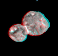 Ultima Thule in 3D, variant (sjrankin) Tags: 4january2019 edited nasa newhorizons ultimathule comet asteroid anaglyph 3d