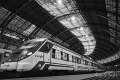 Destiny (Sergio G. Fuertes) Tags: railway transportation system public station train tram tramway railroad track perspective transport car low angle barcelona black white tunnel light shadows shadow indoor indoors