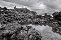 Dunnottar Rockpool-13026 (Cal Fraser) Tags: beach castle dunnottar rockpool scotland stonehaven aberdeenshire unitedkingdom gb blackandwhite