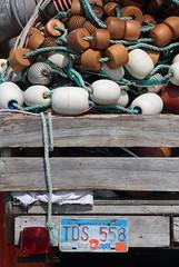 Trailer Nets (peterkelly) Tags: digital canon 6d northamerica canada newfoundlandlabrador heartscontent harbour harbor trailer licenseplate nets net floats taillight