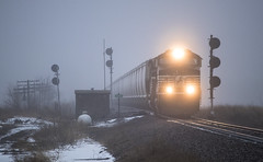 Ghostly Goembel (Seven Tracks Photography) Tags: goembel ns norfolk southern railroad osman train grain d09 local manifest locomotive ge dash 9 photography fog bloomingtondistrict norfolksouthern