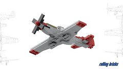 North American P-51D Mustang (Rolling bricks) Tags: lego wwii worldwar fighter north american p51d mustang airforce usairforce ww2 microscale us airplane aircraft militaryaircraft army usarmy aviation militaryaviation military redtails tails red