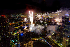 Fireworks over Melbourne for the New Year from the Eureka Towers (Marian Pollock) Tags: australia melbourne newyearseve overhead fromabove night lights city festive 2019 victoria eurekatower fireworks