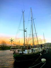Cara; Fishermans friend (akerrzz) Tags: orangesky sunset green northernireland codown city quay newry boat cara