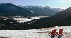 Canadian Rockies Springtime (Mr. Happy Face - Peace :)) Tags: rockies banff bench albertabound snowcaps spring seat hbm art2019