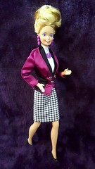 Custom Barbie Outfit 1: Valentine's Style (VintageZealot) Tags: barbie mattel 80s 1980s 90s 1990s 1991 1989 1986 5789 1576 7484 9170 fashion friends beverly hills 90210 kelly taylor cool career super hair jennie garth dinner date vintage doll clothing outfit star superstar 3101 model modelling suit satin houndstooth purple heart necklace ring earrings earring black white blonde caucasian silver magenta pumps velcro snaps blouse shirt top fabric belt skirt jacket blazer plastic jewelry retro beehive malaysia valentine valentines style