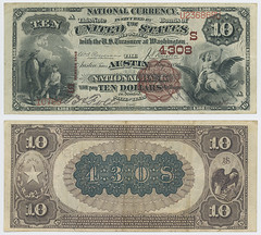 United States $10.00 (ten dollars) national currency (SMU Libraries Digital Collections) Tags: texas money national us united states currency paper banks notes note banknote banknotes chartered bank banking travis traviscounty austin