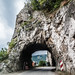 Tunnel in a cliff on the way to Golubac fortress in Serbia