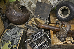 WW II still life (t.horak) Tags: still life army stuff wheel tyre round rusty machine brown wwii continental writing mask wood