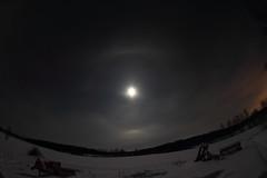 Moon halo_2019_01_18_0017 (FarmerJohnn) Tags: kuu kuutamo moonlight reflection heijastus haloilmiö halo moonhalo night yö talvi winter january tammikuu hanki snowfield lumi miljoonatimanttiahangella snow samyang8mm35umcfisheyecsii canoneos7d canon 7d suomi finland valkola anttospohja juhanianttonen