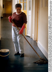 """Cleaner 4 (hoffman) Tags: clean cleaner cleaning female indoors lady machine mop mopping poor poverty scrubbing underpaid vertical washing woman work working davidhoffman wwwhoffmanphotoscom london uk davidhoffmanphotolibrary socialissues reportage stockphotos""""stock photostock photography"""" stockphotographs""""documentarywwwhoffmanphotoscom copyright"""