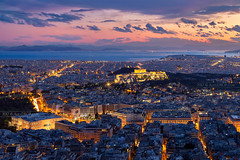_MG_9426 - Athenian Acropolis skyline (from Mount Lycabettus) (AlexDROP) Tags: 2017 europe greece athens greek acropolis travel color building city urban architecture temple history bluehour canon6d ef241054lis best iconic famous mustsee picturesque postcard river longexposure sky skyline