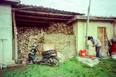 Water Pumping (hiphopmilk) Tags: copyright©jaredyehwooehmoehfilms konica offroad 現場監督 zoom 35mm 135film film analog analogue jaredyeh hiphopmilk kodak travel china sichuan aba hongyuan tibetan qiongxi yard water pump lawn autobike motorcycle motorbike scooter shed