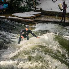 Surfer im Eisbach, München (Janos Kertesz) Tags: sport water action fun spray whitewater danger wave activity extreme eisbach surfing munich münchen bavaria bayern engliscergarten englishgarden
