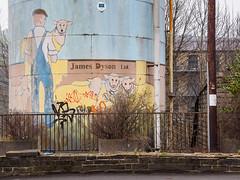 James Dyson Ltd (Peter.Bartlett) Tags: wall lunaphoto peterbartlett urban kirklees art uk m43 microfourthirds unitedkingdom facade sign huddersfield weeds westyorkshire olympusomdem1 linthwaite england gb
