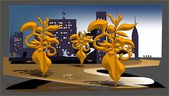 Naranjos (Amparo Higón) Tags: naranjos comunidadvalenciana valencia orangetrees cieloazul bluesky people gente corredores runners edificios skyline building digitalart digitalpainting kunst modernekunst artemoderno artecontemporáneo coreldraw amparohigón