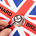 British flag with Hard Brexit text and stethoscope