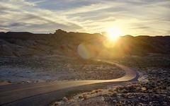 A kind of magic, one dream, one soul (PeterThoeny) Tags: valleyoffire valleyoffirestatepark overton nevada usa statepark park landscape outdoor road curve sun sunset goldenhour sky mountain sony a6000 selp1650 3xp raw photomatix hdr qualityhdr qualityhdrphotography lensflair fav100