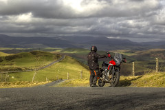 Admiring The View (Andy Tee) Tags: motorbike motorcycle honda cb500x aberhosan wales cymru hdr canon photography biker bikerlife clouds weather sky fields hills mountains selfie landscape picturesque 550d sunlight rays