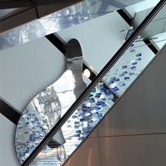 Chicago, 540 W. Madison St., Lobby Sculpture, Detail (Mary Warren 12.8+ Million Views) Tags: chicago 540wmadisonst architecture building skyscraper lobby art sculpture decoration blue glass abstract lines curves geometry